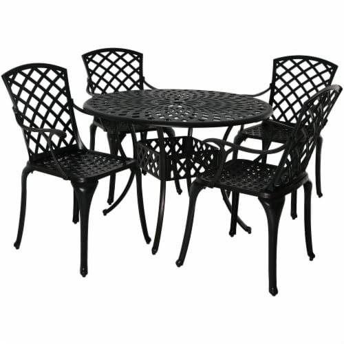 Sunnydaze Patio Table and 4 Chairs Set - Cast Aluminum with Crossweave Design Perspective: front