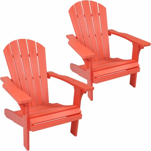 Sunnydaze All-Weather Outdoor Adirondack Chair - 2 PK - Faux Wood Design -Salmon Perspective: front