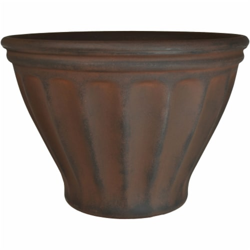 """Sunnydaze Charlotte Outdoor Double-Walled Flower Pot Planter - Rust -16""""- Single Perspective: front"""