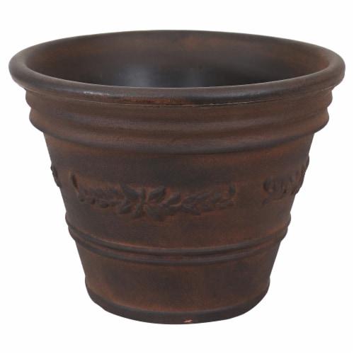 "Sunnydaze Laurel Outdoor Double-Walled Flower Pot Planter - Rust - 13"" - Single Perspective: front"