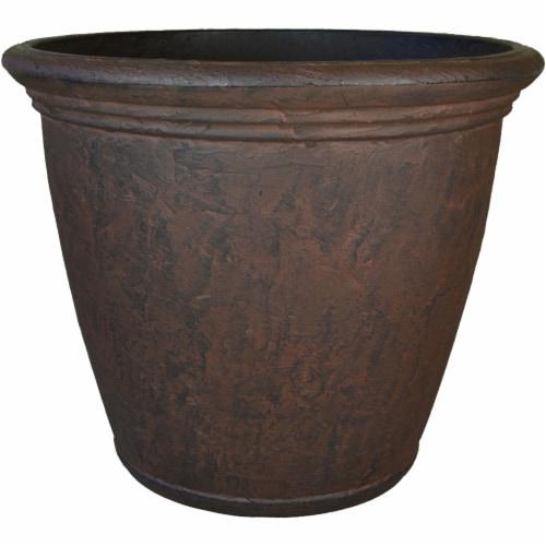 "Sunnydaze Anjelica Outdoor Double-Walled Flower Pot Planter - Rust -24""- Single Perspective: front"
