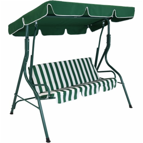 Sunnydaze 3-Person Striped Cushion Seat Outdoor Canopy Porch Patio Swing - Green Perspective: front