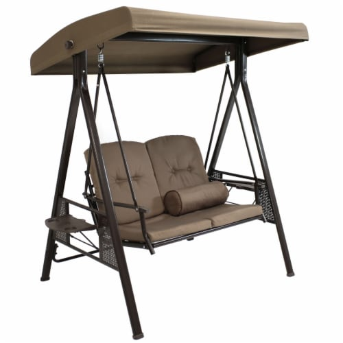Sunnydaze 2-Person Outdoor Adjustable Tilt Canopy Patio Loveseat Swing - Beige Perspective: front