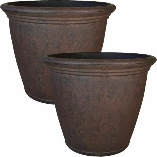 2-pk flower pots brown