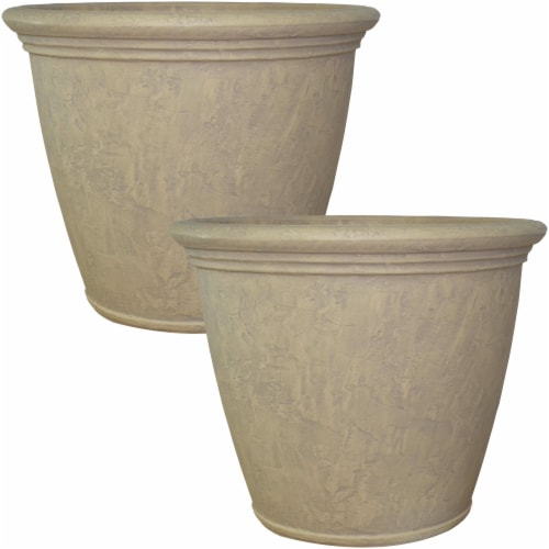"Sunnydaze Anjelica Outdoor Double-Walled Flower Pot Planter - Beige - 24"" - 2-PK Perspective: front"