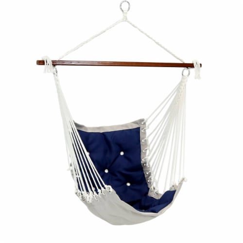 Sunnydaze Tufted Victorian Hammock Chair Swing - 300-Pound Limit - Navy Blue Perspective: front