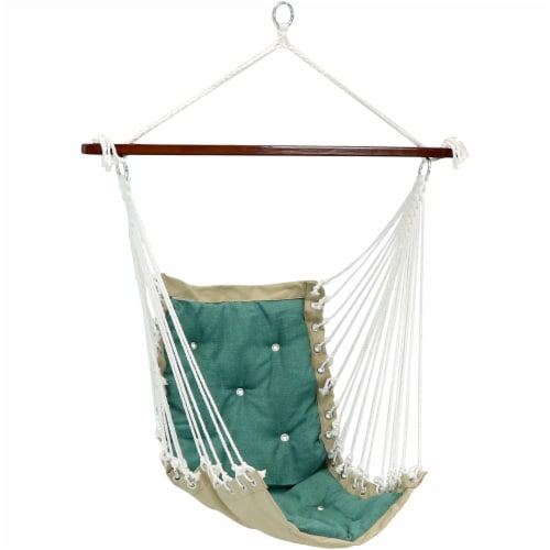 Sunnydaze Tufted Victorian Hammock Chair Swing - 300-Pound Limit - Sea Grass Perspective: front