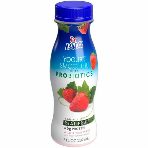 LaLa Wild Strawberry Flavored Probiotic Yogurt Smoothie Perspective: front