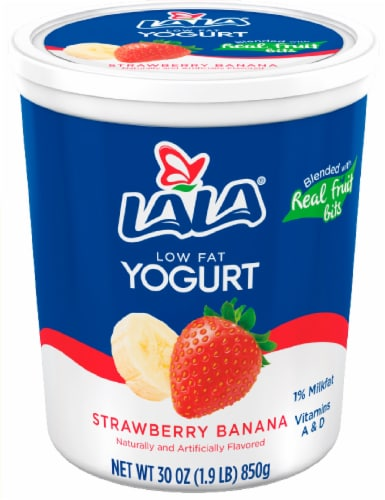 Lala Low Fat Strawberry Banana Yogurt Perspective: front