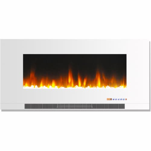 Cambridge Wall-Mount Electric Fireplace - White Perspective: front