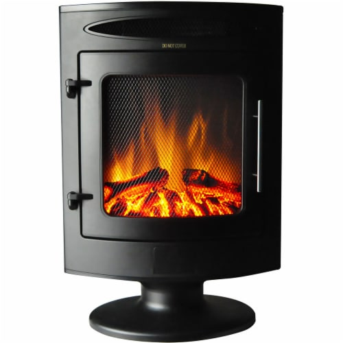 Cambridge Freestanding Electric Fireplace Heater with Log Display - Black Perspective: front