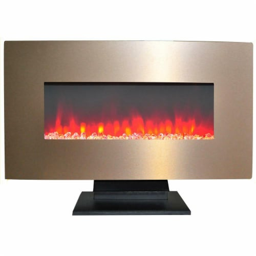 Cambridge CAM36WMEF-1BR 36 in. Metallic Electric Fireplace in Bronze with Multi-Color Crystal Perspective: front