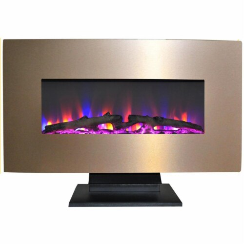Cambridge CAM36WMEF-2BR 36 in. Metallic Electric Fireplace in Bronze with Multi-Color Log Dis Perspective: front