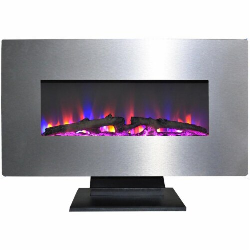 Cambridge CAM36WMEF-2SS 36 in. Metallic Electric Fireplace in Stainless Steel with Multi-Colo Perspective: front