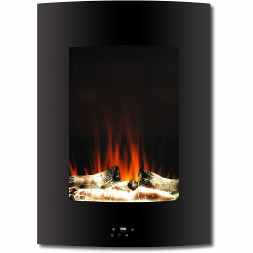 Hanover Vertical Electric Fireplace - Black Perspective: front