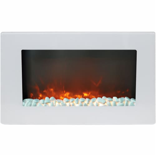 Hanover Fireside Wall-Mount Electric Fireplace - White Perspective: front