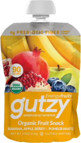 Energyfruits Gutzy Banana Apple Berry & Pomegranate Organic Fruit Pouch Perspective: front