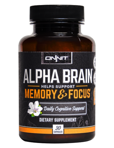 Onnit Alpha Brain Memory and Focus Daily Cognitive Support Dietary Supplement Perspective: front