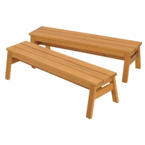 Kaplan Early Learning Outdoor Wooden Stacking Benches  - Set of 2 Perspective: front