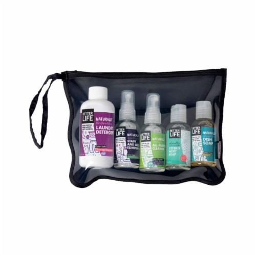 Better Life Natural Cleaning Mini Sampler Travel Size Kit with Pouch, 5 Piece Perspective: front