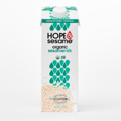 Hope & Sesame Unsweeted Original Organic Sesamemilk Perspective: front