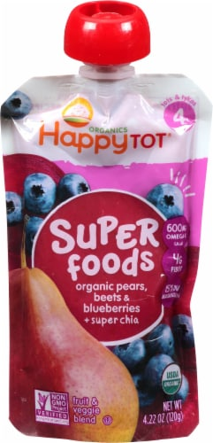 Happy Tot Blueberry Pear & Beet Organic Toddler Food Stage 4 Perspective: front