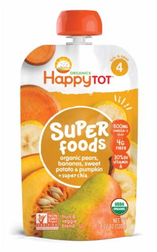 Happy Tot Organic Super Foods Pears Bananas Sweet Potato & Pumpkin Toddler Food Pouch Perspective: front