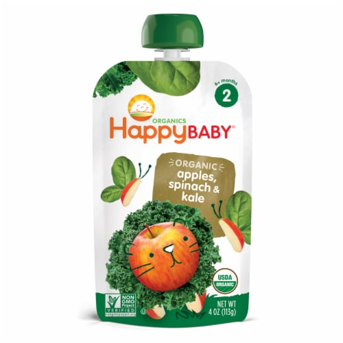 Happy Baby Organics Simple Combo Spinach Apples & Kale Stage 2 Baby Food Pouch Perspective: front