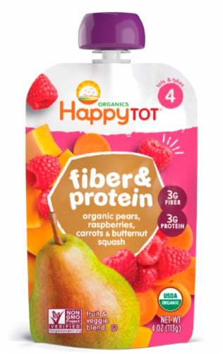 Happy Tot Organics Fiber & Protein Pear Raspberry Carrots & Butternut Squash Fruit & Veggie Blend Perspective: front