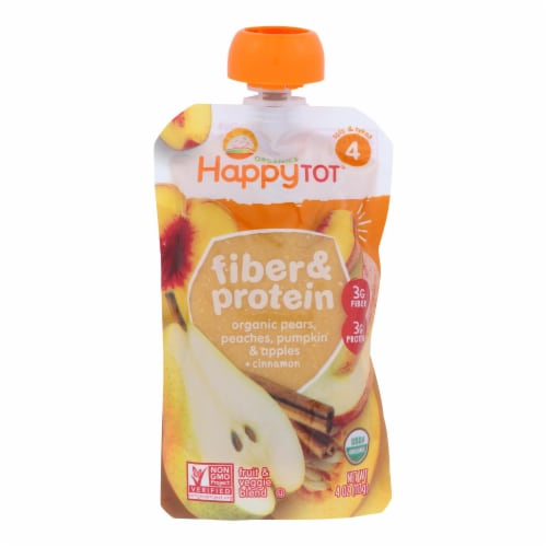 Happy Tot Toddler Food-Organic-Fiber,Protein-Stage 4-Apple Peach Pumpkin,Cinnamon-4 oz-16Case Perspective: front