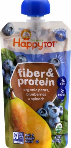 Happy Tot Organics Fiber & Protein Pears Blueberries & Spinach Fruit & Veggie Blend Perspective: front