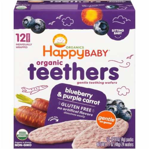 Happy Baby Organics Gluten Free Teethers Blueberry & Purple Carrot Gentle Teething Wafers 12 Count Perspective: front
