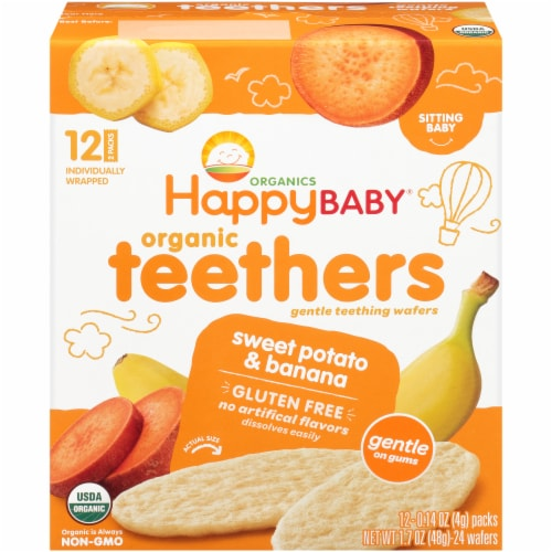 Happy Baby Organics Gluten Free Teethers Sweet Potato & Banana Gentle Teething Wafers 12 Count Perspective: front