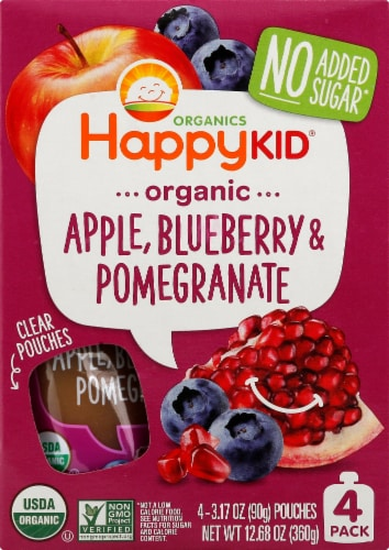 Happy Kid Super Organic Apple Blueberry & Pomegranate Blended Fruit Snack 4 Count Perspective: front