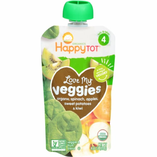 Happy Tot Organics Love My Veggies Spinach Apples Sweet Potatoes & Kiwi Stage 4 Veggie & Fruit Blend Perspective: front