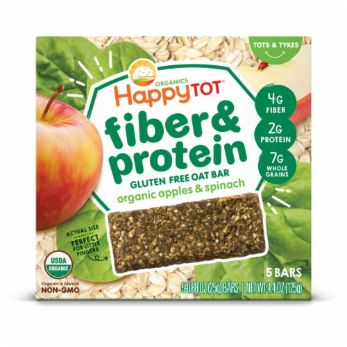 Happy Tot Organics Fiber & Protein Soft-Baked Oat Bars - Apples & Spinach Perspective: front