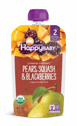 Happy Baby Organics Clearly Crafted Pears Squash & Blackberries Stage 2 Baby Food Pouch Perspective: front