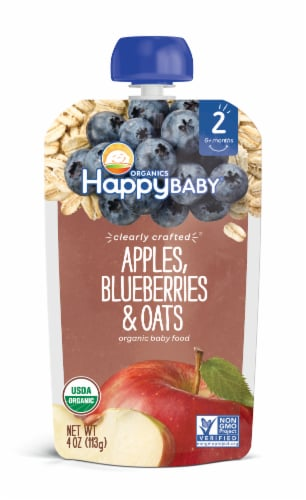 Happy Baby Organics Clearly Crafted Apples Blueberries & Oats Stage 2 Baby Food Pouch Perspective: front