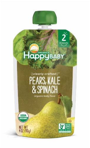 Happy Baby Organics Clearly Crafted Pears Kale & Spinach Stage 2 Baby Food Pouch Perspective: front