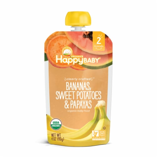 Happy Baby Organics Clearly Crafted Bananas Sweet Potatoes & Papaya Stage 2 Baby Food Perspective: front