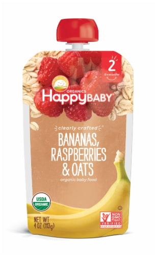 Happy Baby Organics Clearly Crafted Bananas Raspberries & Oats Stage 2 Baby Food Perspective: front