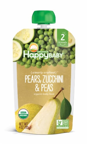 Happy Baby Organics Clearly Crafted Pears Zucchini & Peas Stage 2 Baby Food Pouch Perspective: front