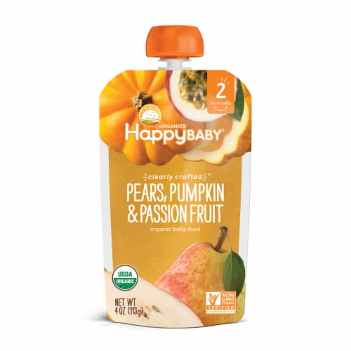 Happy Baby Organics Pears Pumpkin & Passion Fruit Stage 2 Baby Food Pouch Perspective: front