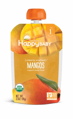 Happy Baby Organic Mangos Baby Food Pouch Perspective: front