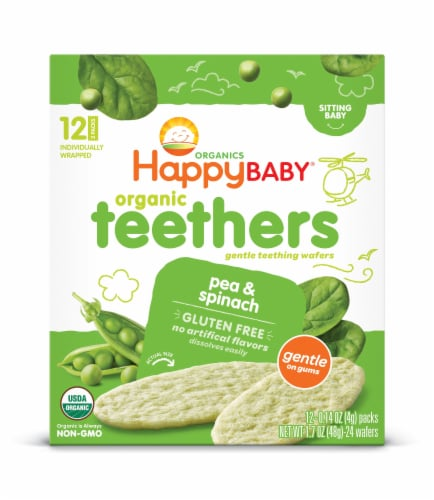 Happy Baby Organic Teethers Pea & Spinach Wafers Perspective: front