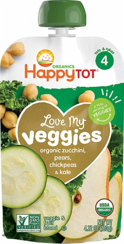 Happy Baby HappyTot Love My Veggies Organic Zucchini Pears Chickpeas & Kale Stage 4 Toddler Food Perspective: front