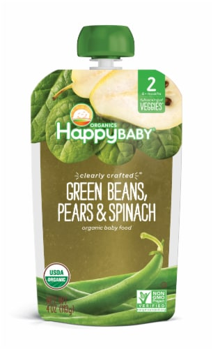 Happy Baby Organics Clearly Crafted Green Beans Spinach & Pears Stage 2 Baby Food Perspective: front
