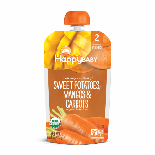 Happy Baby Organics Clearly Crafted Sweet Potatoes Mangos & Carrots Stage 2 Baby Food Perspective: front