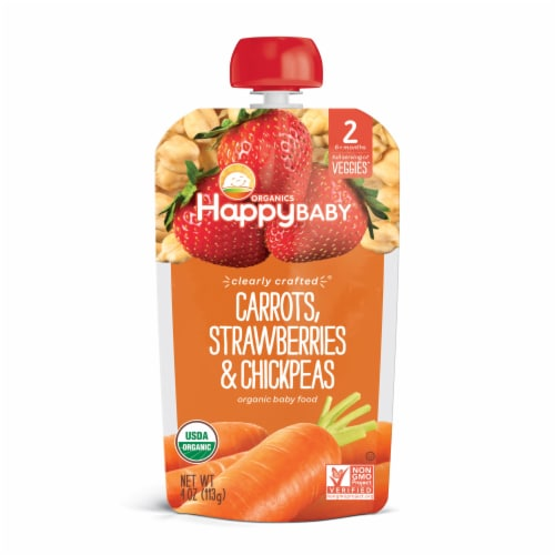 Happy Baby Organics Clearly Crafted Carrots Strawberries & Chickpea Stage 2 Baby Food Pouch Perspective: front
