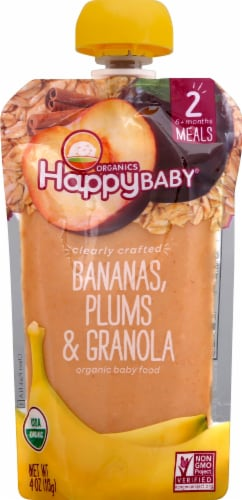 Happy Baby Organics Bananas Plums & Granola Stage 2 Baby Food Perspective: front